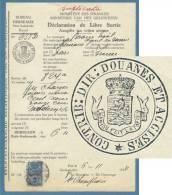 1834  BELGIQUE  MINISTERE DES FINANCES  DICHIARAZIONE DOGANALE IN BOLLO - Documenti Storici