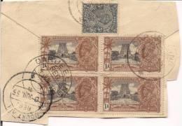 INDIA 1935, SILVER JUBILEE 1ANNA SG 242x4 Block On Paper Darjeeling To Mount Abu POSTAL MARK + ONE 3 PIES VFU - 1902-1951 (Kings)