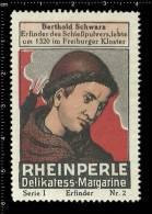 Old Original German Poster Stamp(advertising Cinderella) Berthold Schwarz - Inventor Of Gunpowder Alchemy - Chimie