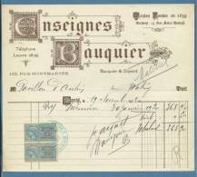 1920 - FATTURA  PUBBLICITARIA (ADVERTISING) -ENSEIGNES BAUQUIER - PARIS  - CON MARCA DA BOLLO - 1900 – 1949