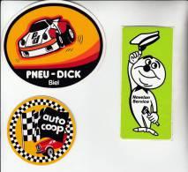 3 Autocollants / Adesivi / Aufkleber / Stickers - Coop Auto - Pneu Dick - Novelan Service - Autocollants