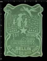 Old Original German Poster Stamp (cinderella Reklamemarke Vignette) Ostseebad Sellin Silhouette Shadow Angel - Erinnophilie