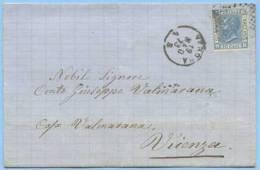 1873 V. EMANUELE  C.20 COPERTA VERONA 19.5.73 NUMERALE PUNTI A VICENZA TIMBRO ARRIVO OTTIMA QUALITÀ (5003) - 1861-78 Victor Emmanuel II