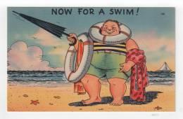 """Linen Vintage Postcard - """"Now For A Swim!"""" [#A0377] - Comics"""