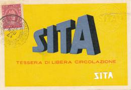 CATANIA SITA AUTOBUS TESSERA DI LIBERA CIRCOLAZIONE ALL'ASSESSORE 1955 - Abonnements Hebdomadaires & Mensuels