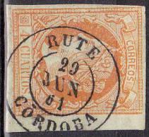 1860 Edifil 52 Isabel II 4c. RUTE Cordoba - 1850-68 Royaume: Isabelle II