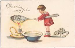 Glückliches Neues Jahr Erhabene Goldbuchstaben Blei Giessen Glücksklee Hufeisen Kleines Mädchen 30.12.1929 Gelaufen - Neujahr