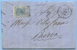 1868 V. EMANUELE C.20 LETTERA COPLETA DA SACILE NUMERALE PUNTI 29.\.68 A PADOVA TIMBRO ARRIVO (5025) - 1861-78 Vittorio Emanuele II