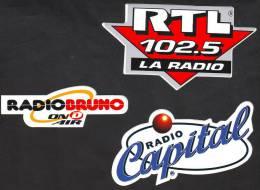 Radio RTL + Radio Centrale + Radio Bruno, 3   Adesivi Di Vari Forma - Autres