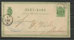 Denmark 1875-9 Postal Stationary Card  To Berlin 10 Ore - Interi Postali