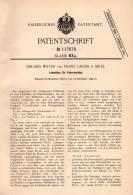 Original Patentschrift - Eduard Wever Und F Gross In Metz , 1899 , Fahrrad - Sattel , Leibstütze , Bicycle !!! - Historical Documents