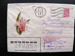 Postal Stationery Cover Sent From Russia To Lithuania, USSR, Flower Orchid - 1923-1991 USSR