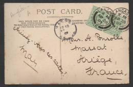 GRANDE-BRETAGNE SUR CP POUR LA FRANCE / PAIRE DU TP 106 EDOUARD VII / OBL LANCASTER + CACHET ARRIVÉE MASSAT ARIEGE 1907 - Cartas