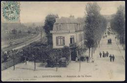 80 - SOMME - MONTDIDIER - 34. - AVENUE DE LA GARE. HOTEL DE LA GARE. TABAC. LIBRAIRIE L. VALLÉE ÉDITEUR. - Montdidier