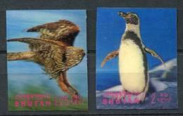 BHOUTAN   1969   Yvert 237/238   Michel 299/300   Eagle, Pinguin   Aigle, Pingouin - Eagles & Birds Of Prey