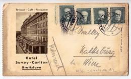 EUROPE SLOVAKIA BRATISLAVA HOTEL SAVOY-CARLTON TRIPLE CARD LIKE A LETTER OLD POSTCARD 1931. - Slovakia