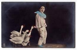 PHOTOGRAPHS CHILDREN BOY PIERROT CLOWN AND SWANS R Nr. 3739 OLD POSTCARD 1906. - Photographs