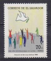 El Salvador 1986 Mi. 1599     70 C Airmail Flugpost Internationales Jahr Des Friedens MH* - El Salvador
