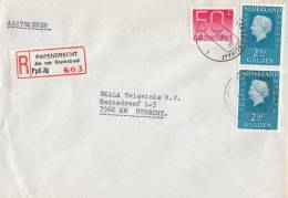 Nederland - Aangetekend/Recommandé Brief Vertrek Papendrecht - Aantekenstrookje Papendrecht Jan Van Goyenstraat - Poststempel