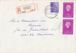 Nederland - Aangetekend/Recommandé Brief Vertrek Dordrecht- Aantekenstrookje Dordrecht Rechte Zandweg - Poststempel
