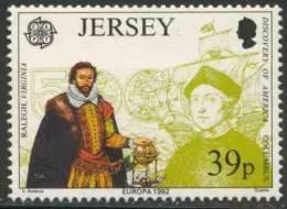 Jersey 1992 Mi 576 ** Sir Walter Raleigh (1554-1618) Founder Of Virginia / Gouverneur Von Jersey + Columbus - Christoffel Columbus