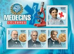 Ca12308a Central African 2012 Famous Doctors S/s Red Cross Nobel Prize Sanke C.Barton R.Koch A.Fleming A.Scwwitzer - Albert Schweitzer