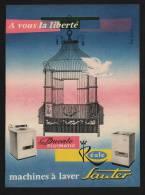 Pub Papier 1958 Electromenager Machine A Laver SAUTER Dessin Oiseau Cage Colombe - Reclame