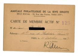 Carte Membre Amicale Philatelique Rive Droite  A.P.R.D 1947 - Cartes