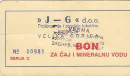 CROATIA  -   2 X BON ZA CAJ I MINERALNU VODU   -  ,, J - G ,,   VELIKA GORICA - Kroatien