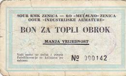 BOSNIEN  -  BON ZA TOPLI OBROK  --  MANJA  VRIJEDNOST  --  RMK ZENICA - Bosnien-Herzegowina