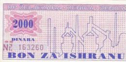 BOSNIEN  -  BON ZA ISHRANU  --  ZELJEZARA ZENICA  -  2000 DINARA - Bosnia Y Herzegovina
