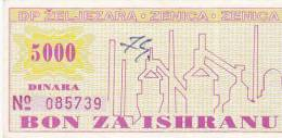 BOSNIEN  -  BON ZA ISHRANU  --  ZELJEZARA ZENICA  -  5000 DINARA - Bosnia Y Herzegovina