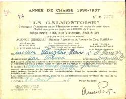 Carte D´assurance De Chasse/La Galmontoise/Saint Pierre D´Autils/Eure/ 1936- 37     VP513 - Vieux Papiers