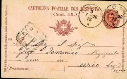 INTERO REGNO OVALE UMBERTO I 7,5+7,5 C MIL 99 DOMANDA VG 1900 COMO X URIO - 1878-00 Umberto I