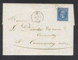 PUY DE DOME MENAT Type 15 Du 5 Septembre1863 + CG Sur N° 22  Pour COMMENTRY TB - Marcofilia (sobres)