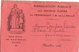 Carte D´association/ Anciens éléves  Du Pensionnat JB De La Salle /Rouen/Seine Inférieure/1932   VP514 - Supplies And Equipment