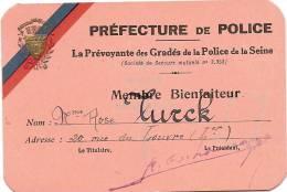 Carte De Membre Bienfaiteur/Préfecture De Police/ La Prévoyante Des Gradés De La Police De La Seine/1947  VP518 - Alte Papiere