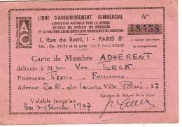 Carte De Membre Adhérent/ Ligue D'assainissement Commercial/Paris/1947  VP519 - Old Paper