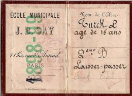 Carte D´Ecolier/Laisser-passer/Ecole Municipale JB SAY/Paris /1898-99         VP522 - Vieux Papiers