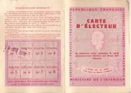 Carte D'Electeur/Ministére De L'Intérieur/Paris 1er Arrondissement/ 1979  VP526 - Alte Papiere