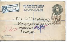 3082  REGISTERED  LETTER NOTTINGHAM--WARSAW - Airmail