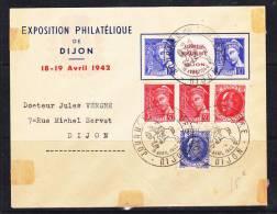 FRANCE LETTRE AVEC TYPE MERCURE JOURNEE DU TIMBRE DU 15.4.1942 DIJON TRACE DE CHARNIERE SUR L'ENVELOPPE - France