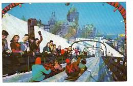 Québec P.Q. Qué. - Terrace Dufferin - Glissade Glissoir Toboggan - Animated - Winter - Sport - 2 Scans - Québec - Château Frontenac