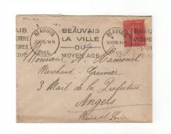 Flamme KRAG à Texte: « Beauvais, La Ville Du Moyen Age » Sur Lettre De 1926 De Beauvais, Oise (60) - Marcophilie (Lettres)