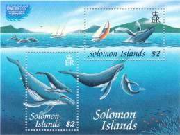 Solomon Islands 1997 Pacific Whales Sheet Of 2 Pacific 97 MNH - Solomon Islands (1978-...)