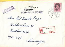 Nederland - Aangetekend/Recommandé Brief Vertrek Brielle - Aantekenstrookje Brielle 926 - Poststempel