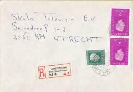 Nederland - Aangetekend/Recommandé Brief Vertrek Amsterdam - Aantekenstrookje Amsterdam Fred. Hendrikstraat 41 - Poststempel