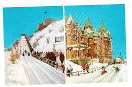 Québec P.Q. Qué. - Château Frontenac - Plaisirs D'hiver - Terrasse Dufferin - Glissade Glissoir - État TB - Animée - Québec - Château Frontenac