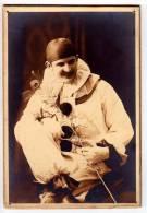 PHOTOGRAPHS CLOWN PIERROT WITH A FEATHER CARDBOARD CARD FOTO HORICE POBOCNI ZAVODY NOVY BYDZOV SEMILY - Photographs