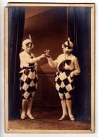 PHOTOGRAPHS TWO CLOWN PIERROT WITH A DRINK CARDBOARD CARD DAMAGED CORNER FOTO HORICE POBOCNI ZAVODY NOVY BYDZOV SEMILY - Photographs